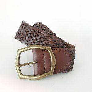 Brown Braided Leather Belt Brass Thick Long XL